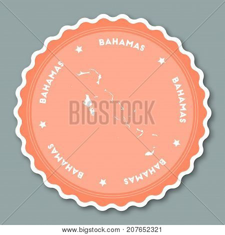 Bahamas Sticker Flat Design. Round Flat Style Badges Of Trendy Colors With Country Map And Name. Cou