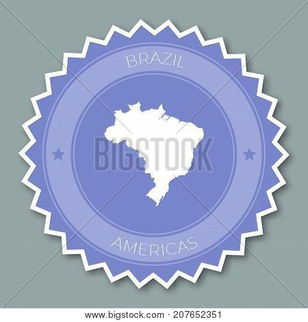 Brazil Badge Flat Design. Round Flat Style Sticker Of Trendy Colors With Country Map And Name. Count