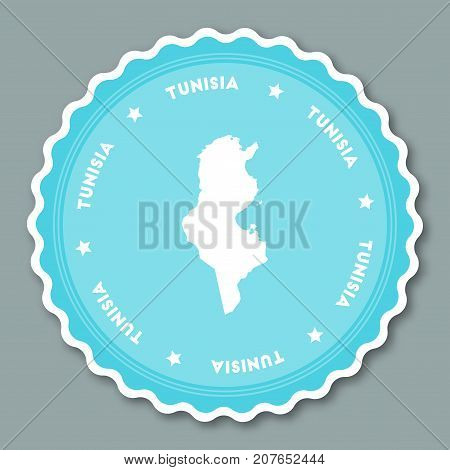 Tunisia Sticker Flat Design. Round Flat Style Badges Of Trendy Colors With Country Map And Name. Cou