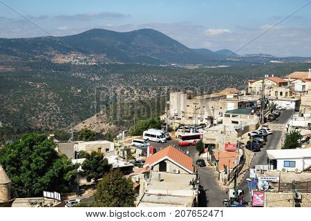 SAFED ISRAEL - SEPTEMBER 25 2017: View from the city of Safed tо Mount Meron