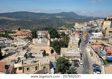 SAFED ISRAEL - SEPTEMBER 25 2017: View of the sacred Jewish city of Safed and Mount Meron