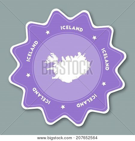 Iceland Map Sticker In Trendy Colors. Star Shaped Travel Sticker With Country Name And Map. Can Be U