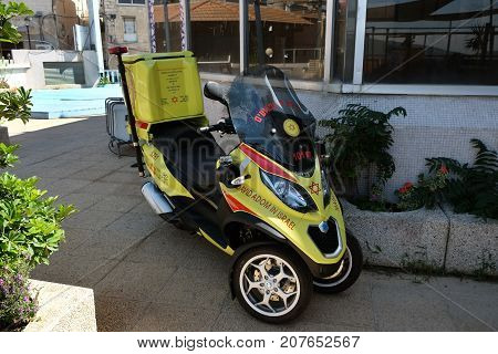 SAFED ISRAEL - SEPTEMBER 25 2017: Motor scooter medical service Magen David Adom