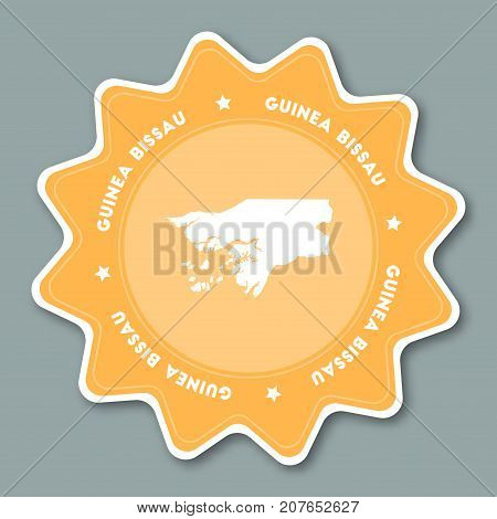 Guinea-bissau Map Sticker In Trendy Colors. Star Shaped Travel Sticker With Country Name And Map. Ca