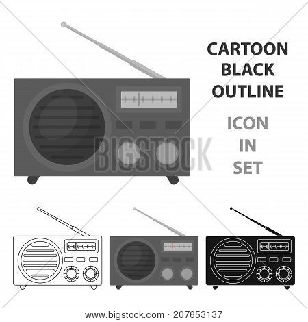 Radio advertising icon in cartoon style isolated on white background. Advertising symbol vector illustration.