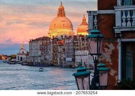 The Grand Canal and the Basilica di Santa Maria della Salute in Venice at sunset