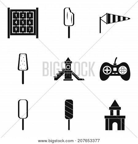 Game in the yard icons set. Simple set of 9 game in the yard vector icons for web isolated on white background
