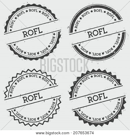 Rofl Insignia Stamp Isolated On White Background. Grunge Round Hipster Seal With Text, Ink Texture A