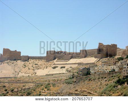 View of Kerak Castle crusader castle in Al Karak Jordan