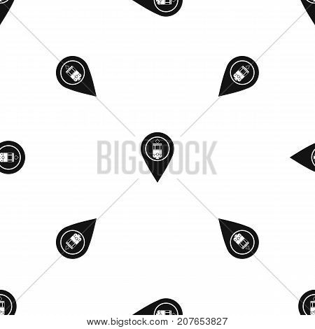 Geo tag with tram sign pattern repeat seamless in black color for any design. Vector geometric illustration