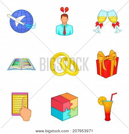 Responsibility icons set. Cartoon set of 9 responsibility vector icons for web isolated on white background