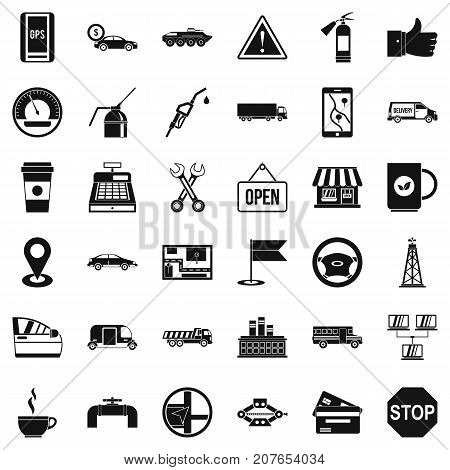 Gas station icons set. Simple style of 36 gas station vector icons for web isolated on white background
