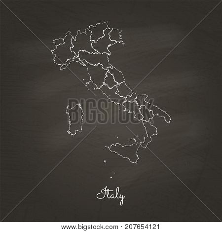 Italy Region Map: Hand Drawn With White Chalk On School Blackboard Texture. Detailed Map Of Italy Re