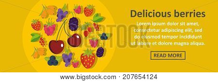 Delicious berries banner horizontal concept. Flat illustration of delicious berries banner horizontal vector concept for web design