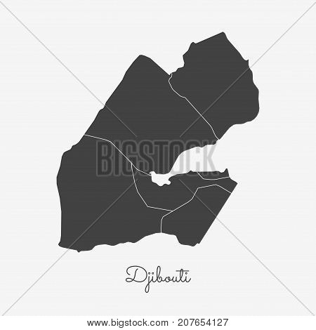 Djibouti Region Map: Grey Outline On White Background. Detailed Map Of Djibouti Regions. Vector Illu