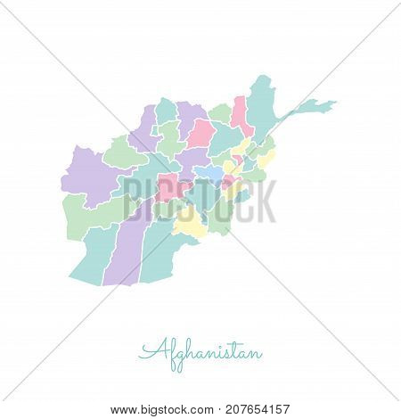 Afghanistan Region Map: Colorful With White Outline. Detailed Map Of Afghanistan Regions. Vector Ill