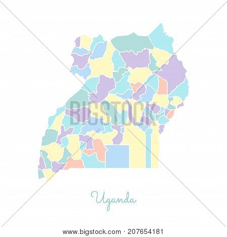Uganda Region Map: Colorful With White Outline. Detailed Map Of Uganda Regions. Vector Illustration.