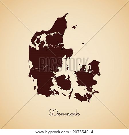 Denmark Region Map: Retro Style Brown Outline On Old Paper Background. Detailed Map Of Denmark Regio