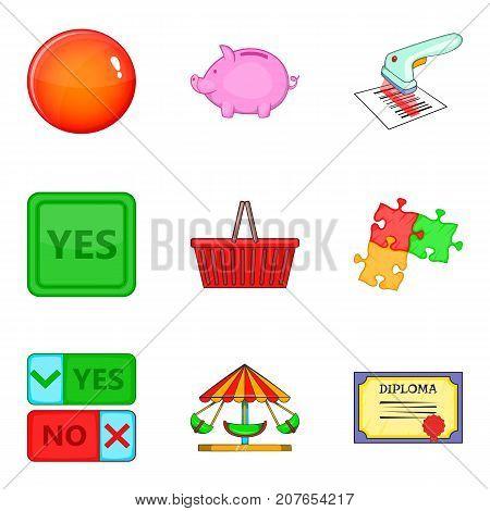 Option icons set. Cartoon set of 9 option vector icons for web isolated on white background