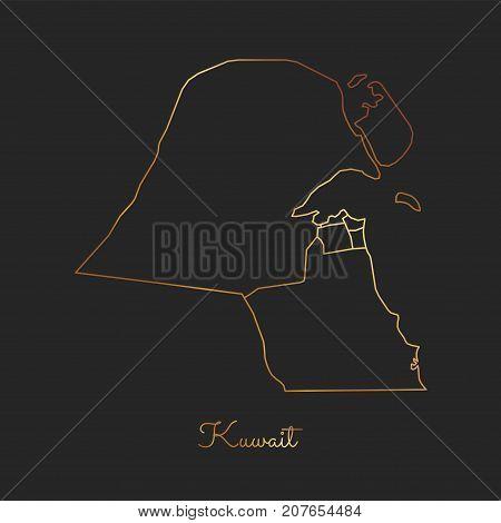 Kuwait Region Map: Golden Gradient Outline On Dark Background. Detailed Map Of Kuwait Regions. Vecto