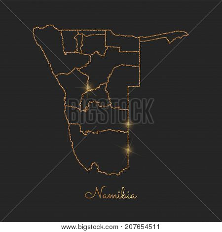 Namibia Region Map: Golden Glitter Outline With Sparkling Stars On Dark Background. Detailed Map Of