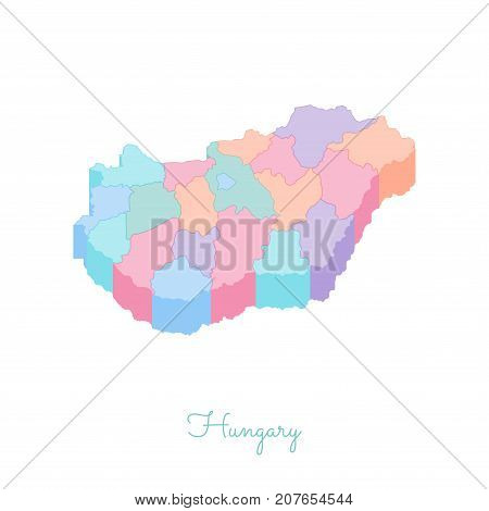 Hungary Region Map: Colorful Isometric Top View. Detailed Map Of Hungary Regions. Vector Illustratio