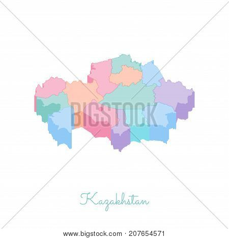 Kazakhstan Region Map: Colorful Isometric Top View. Detailed Map Of Kazakhstan Regions. Vector Illus