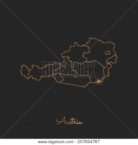 Austria Region Map: Golden Glitter Outline With Sparkling Stars On Dark Background. Detailed Map Of
