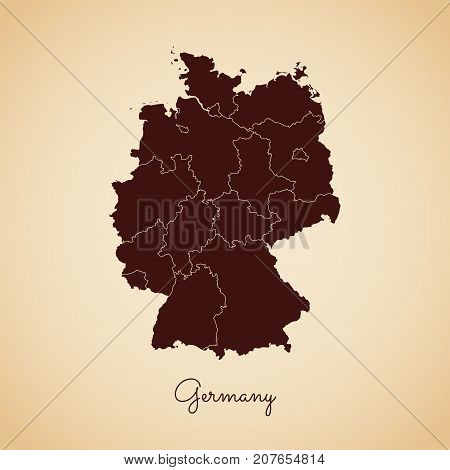 Germany Region Map: Retro Style Brown Outline On Old Paper Background. Detailed Map Of Germany Regio