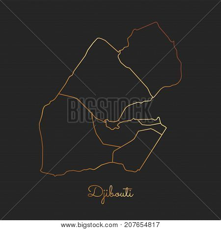 Djibouti Region Map: Golden Gradient Outline On Dark Background. Detailed Map Of Djibouti Regions. V