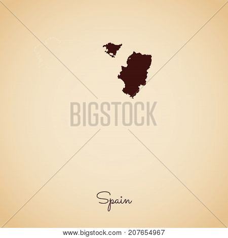Spain Region Map: Retro Style Brown Outline On Old Paper Background. Detailed Map Of Spain Regions.