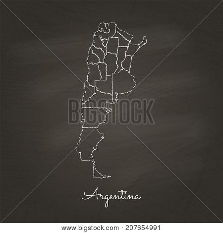 Argentina Region Map: Hand Drawn With White Chalk On School Blackboard Texture. Detailed Map Of Arge