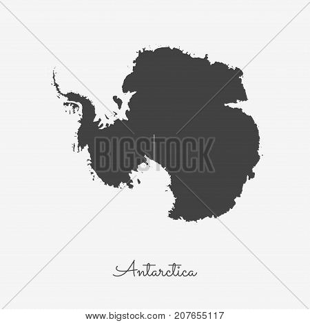 Antarctica Region Map: Grey Outline On White Background. Detailed Map Of Antarctica Regions. Vector