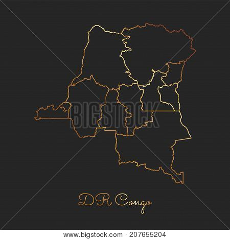 Dr Congo Region Map: Golden Gradient Outline On Dark Background. Detailed Map Of Dr Congo Regions. V