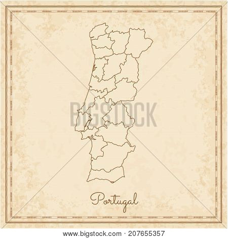 Portugal Region Map: Stilyzed Old Pirate Parchment Imitation. Detailed Map Of Portugal Regions. Vect