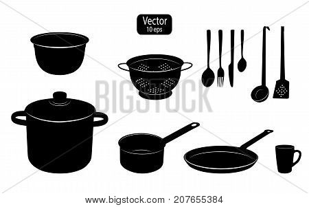 Kitchen Utensils For Cooking Food. Silhouettes Of Kitchen Tools. Cooking Pot And Pan. Templates For