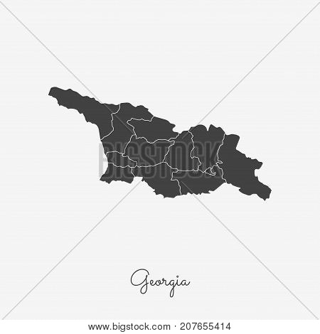 Georgia Region Map: Grey Outline On White Background. Detailed Map Of Georgia Regions. Vector Illust