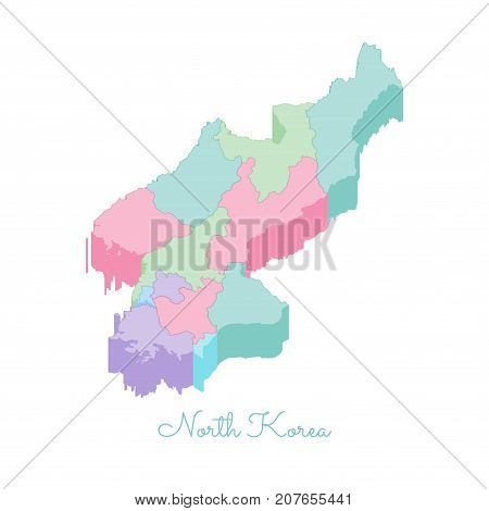 North Korea Region Map: Colorful Isometric Top View. Detailed Map Of North Korea Regions. Vector Ill