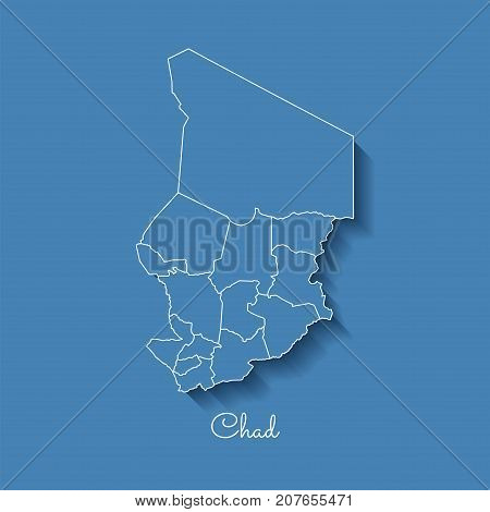 Chad Region Map: Blue With White Outline And Shadow On Blue Background. Detailed Map Of Chad Regions