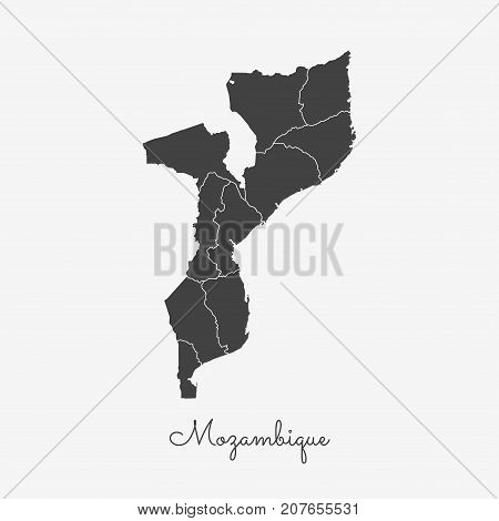 Mozambique Region Map: Grey Outline On White Background. Detailed Map Of Mozambique Regions. Vector