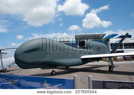 Changi, Singapore - Feb 6,2010 : Northrop Grumman RQ-4N BAMS show in Singapore Air Show 2010