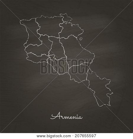 Armenia Region Map: Hand Drawn With White Chalk On School Blackboard Texture. Detailed Map Of Armeni
