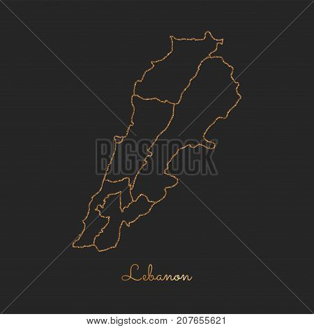 Lebanon Region Map: Golden Glitter Outline With Sparkling Stars On Dark Background. Detailed Map Of