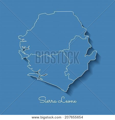 Sierra Leone Region Map: Blue With White Outline And Shadow On Blue Background. Detailed Map Of Sier