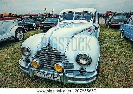 KYIV, UKRAINE - OCTOBER 2017: Vintage white Car BMW (Eisenacher Motorenwerk) at the