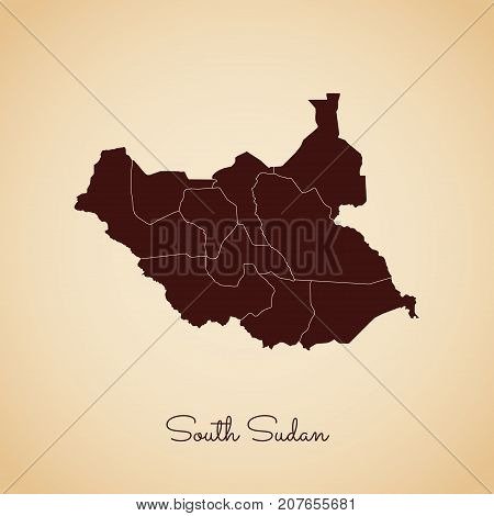 South Sudan Region Map: Retro Style Brown Outline On Old Paper Background. Detailed Map Of South Sud
