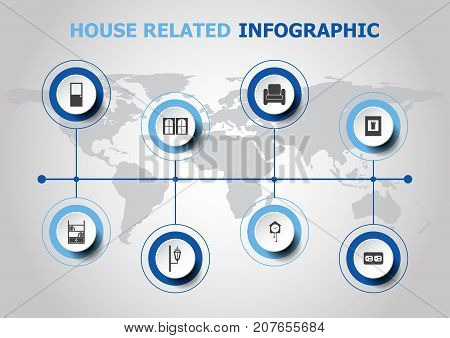 Infographic design with house related icons, stock vector