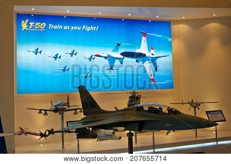 Changi, Singapore - Feb 6,2010 : T-50 Golden Eagle models show in Singapore Air Show 2010