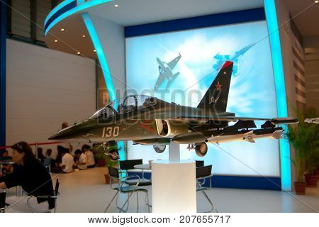 Changi, Singapore - Feb 6,2010 : Russia fighter jet model show in Singapore Air Show 2010