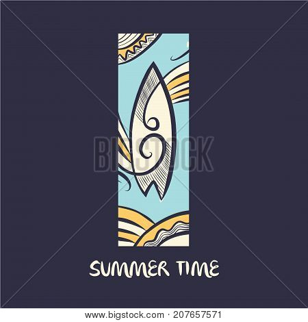 Hand Drawn Vector Concept Image Of Logo For Summer Time. Illustr
